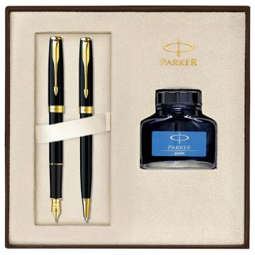 Set PARKER Sonnet Laquer Deep Black GT - Stilou + Pix