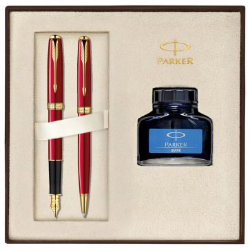 Set PARKER Sonnet Laquer Deep Red GT - Stilou + Pix