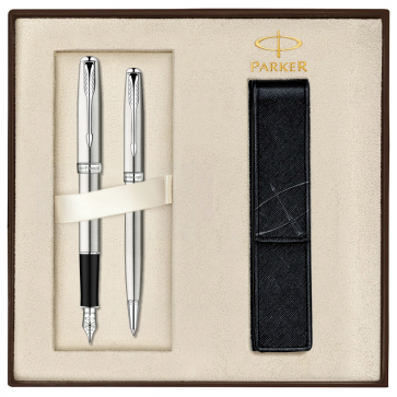 Set PARKER Sonnet Stainless Steel CT - Stilou + Pix