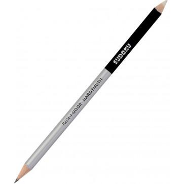Creion cu mina grafit + radiera, 17.5cm, cu 2 capete, KOH-I-NOOR Sudoku