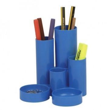 Suport de birou, 6 compartimente, albastru, FLARO