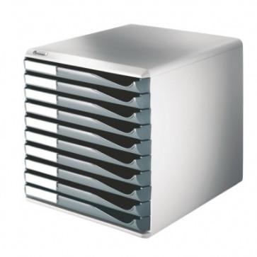 Suport documente, 10 sertare, gri, LEITZ Standard