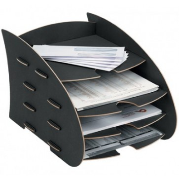 Suport documente, 4 compartimente, negru, FELLOWES Earth Series