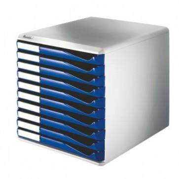 Suport documente, 10 sertare, albastru, LEITZ Standard