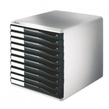Suport documente, 10 sertare, negru, LEITZ Standard