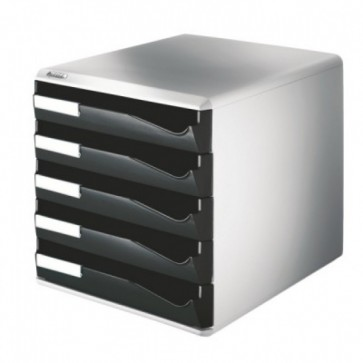Suport documente, 5 sertare, negru, LEITZ Standard