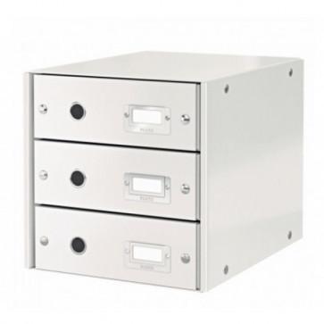 Suport pentru documente cu 3 sertare, alb, LEITZ Click & Store