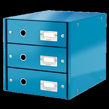 Suport pentru documente cu 3 sertare, albastru, LEITZ Click & Store