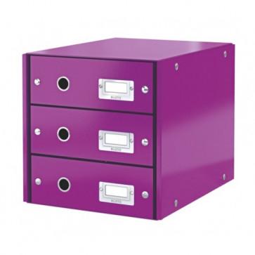 Suport pentru documente cu 3 sertare, mov, LEITZ Click & Store