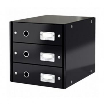 Suport pentru documente cu 3 sertare, negru, LEITZ Click & Store