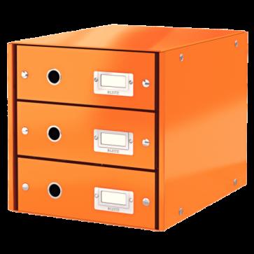 Suport pentru documente cu 3 sertare, portocaliu, LEITZ Click & Store