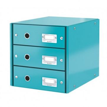 Suport pentru documente cu 3 sertare, turcoaz, LEITZ Click & Store