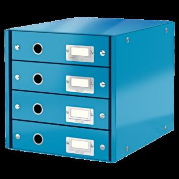 Suport pentru documente cu 4 sertare, albastru, LEITZ Click & Store