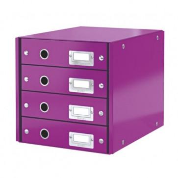 Suport pentru documente cu 4 sertare, mov, LEITZ Click & Store