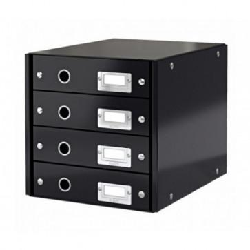 Suport pentru documente cu 4 sertare, negru, LEITZ Click & Store