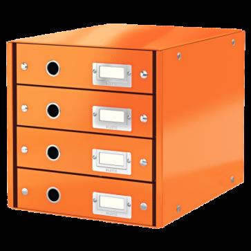 Suport pentru documente cu 4 sertare, portocaliu, LEITZ Click & Store