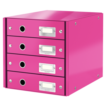 Suport pentru documente cu 4 sertare, roz, LEITZ Click & Store