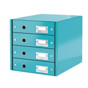 Suport pentru documente cu 4 sertare, turcoaz, LEITZ Click & Store