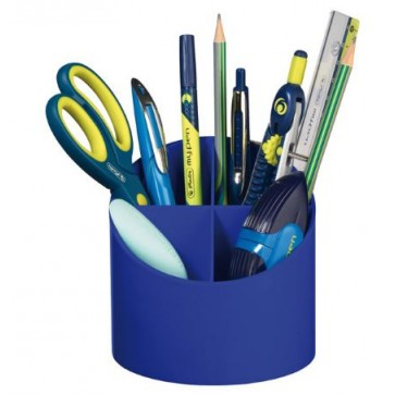 Suport pentru instrumente de scris, rotund, 4 compartimente, albastru intens, HERLITZ