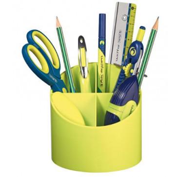 Suport pentru instrumente de scris, rotund, 4 compartimente, lemon, HERLITZ
