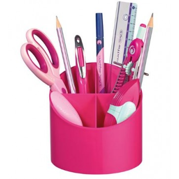 Suport pentru instrumente de scris, rotund, 4 compartimente, roz, HERLITZ