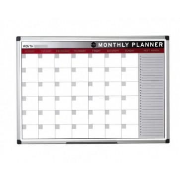 Tabla de planificare, lunara, rama din aluminiu, 90 x 60cm, BI-OFFICE