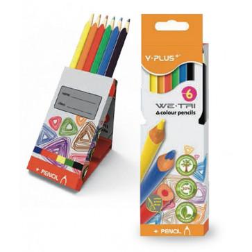 Creioane colorate, cutie tip suport, 6 culori/set, PIGNA Y-Plus+