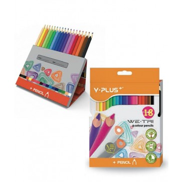 Creioane colorate, cutie tip suport, 18 culori/set, PIGNA Y-Plus+