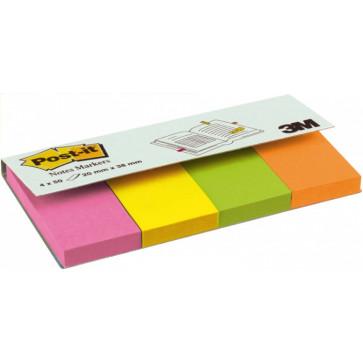 Index autoadeziv, 20 x 38mm, 100 file/culoare, 4 culori neon/set, POST-IT 670-4N