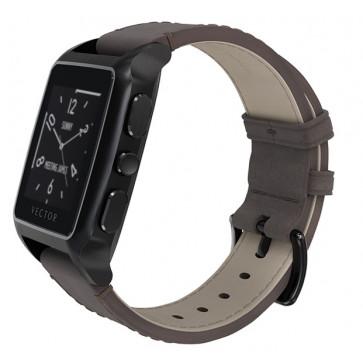 SmartWatch VECTOR Watch Meridian, negru satinat și curea maro din piele