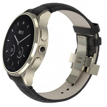 SmartWatch VECTOR Watch Luna, champagne gold, curea neagra din piele croco