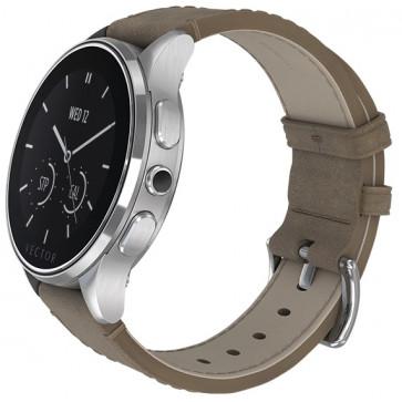 SmartWatch VECTOR Watch Luna, argintiu, curea bej din piele