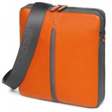 Geanta, portocaliu/gri din piele de bovina si nylon, FEDON Web Micro-2
