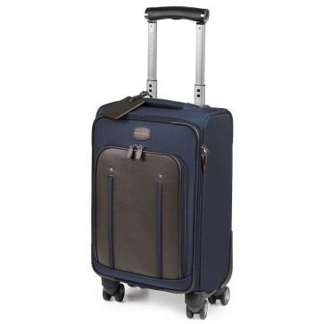 Troller, albastru/maro, din piele de bovina si nylon, FEDON Travel Web Trolley-S