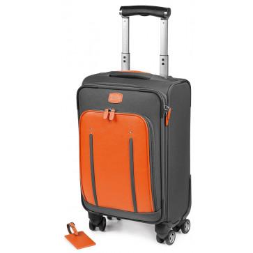 Troller, portocaliu/gri, din piele de bovina si nylon, FEDON Travel Web Trolley-S