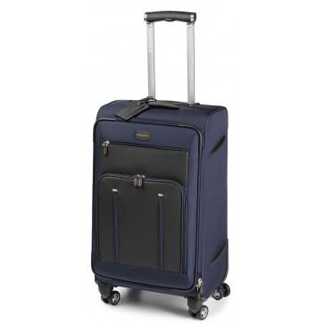 Troller, albastru/maro, din piele de bovina si nylon, FEDON Travel Web Trolley-L