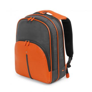 "Rucsac pentru laptop 15"", din piele de bovina si nylon, gri cu portocaliu, FEDON Web Zaino"