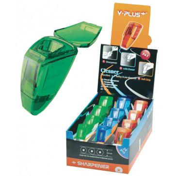 Ascutitoare din plastic, cu container, radiera, PIGNA Cleaner Y-Plus+