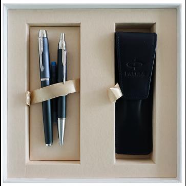 Set stilou + pix + etui in cutie, albastru inchis, cu accesorii cromate, Blue Black, PARKER I.M. Premium