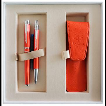 Set stilou + pix + etui in cutie, rosu, din metal slefuit, cu accesorii cromate, Big Red, PARKER I.M. Premium