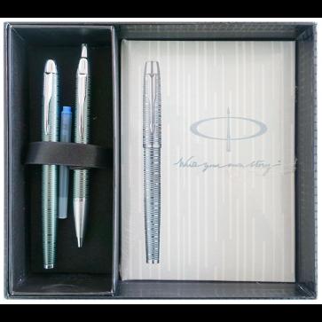Set stilou + pix + notes in cutie, verde metalizat, cu accesorii cromate, Emerald Pearl, PARKER I.M. Premium Vacumatic
