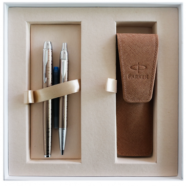Set stilou + pix + etui in cutie, maro metalizat, cu accesorii cromate, Brown Shadow, PARKER I.M. Premium Vacumatic