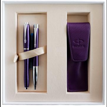 Set stilou + pix + etui in cutie, violet metalizat, cu accesorii cromate, Amethyst Pearl, PARKER Urban Premium Vacumatic