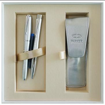 Set stilou + pix + etui in cutie, argintiu metalizat, cu accesorii cromate, Silver Blue Pearl, PARKER Urban Premium Vacumatic