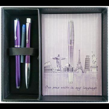 Set stilou + pix + notes in cutie, violet metalizat, cu accesorii cromate, Amethyst Pearl, PARKER Urban Premium Vacumatic