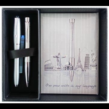 Set stilou + pix + notes in cutie, argintiu metalizat, cu accesorii cromate, Silver Blue Pearl, PARKER Urban Premium Vacumatic