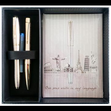 Set stilou + pix + notes in cutie, auriu metalizat, cu accesorii aurii, Golden Pearl, PARKER Urban Premium Vacumatic