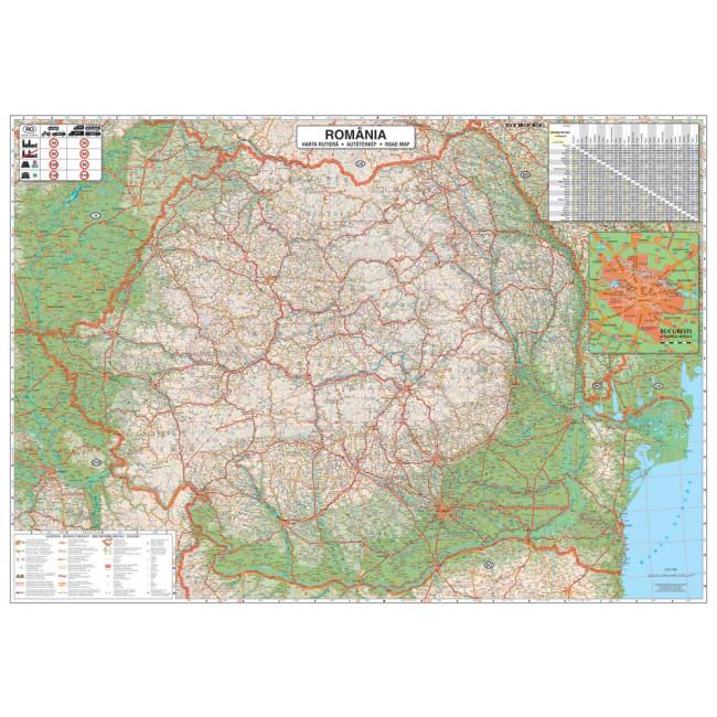 Harta Plastifiata Romania Rutiera 100 X 70cm Baghete Plastic