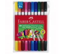 Carioci, 2 capete, 10 culori/set, FABER CASTELL Grip