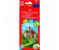 Creioane colorate, 12 culori/set + ascutitoare, FABER-CASTELL